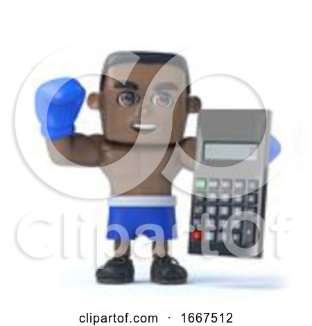 3d Black Boxer Holding a Calculator by Steve Young
