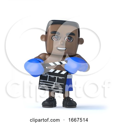 3d Black Boxer Holding a Clapperboard to Make a Movie by Steve Young