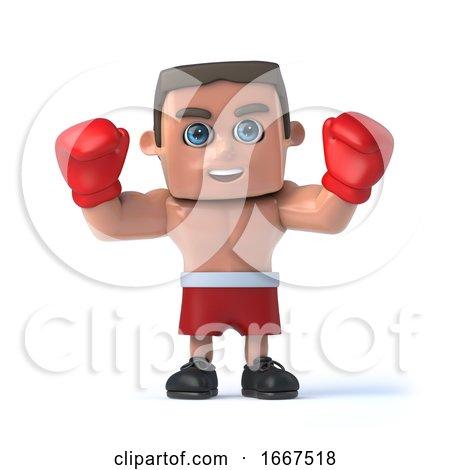 3d Boxer Raises His Hands by Steve Young