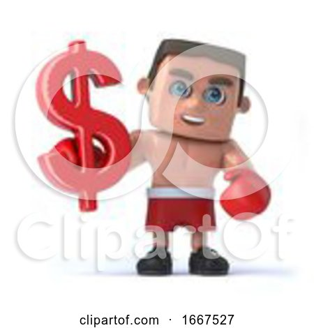 3d Boxer Holds US Dollar Currency Symbol by Steve Young