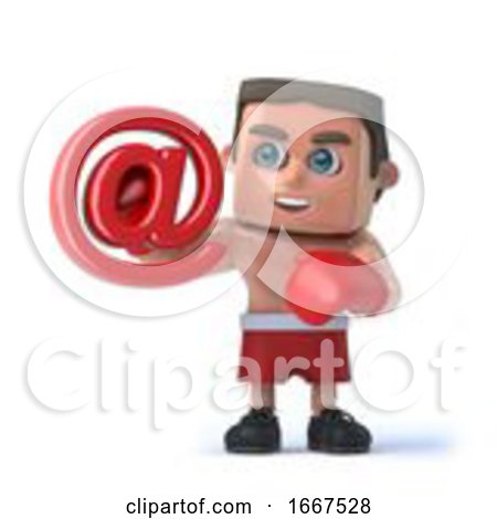 3d Boxer Holds Email Address Symbol by Steve Young