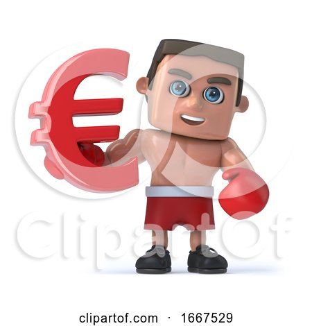 3d Boxer Holds a Red Euro Currency Symbol. by Steve Young