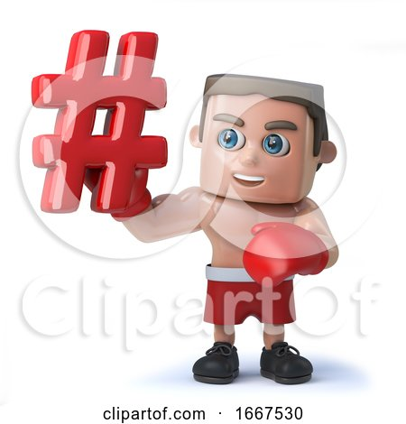 3d Funny Cartoon Boxing Sportsman Character Holding a Hash Tag Symbol by Steve Young