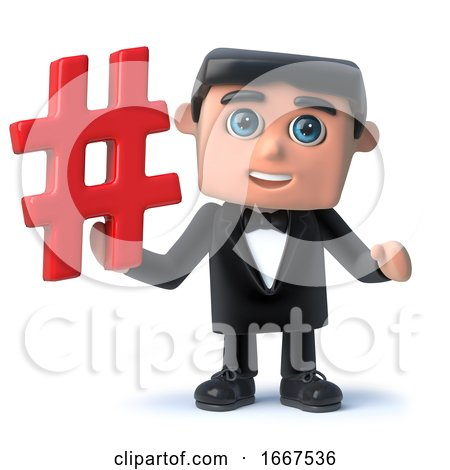 3d Cartoon Gentleman in Bow Tie and Tuxedo Holding a Hash Tag Symbol by Steve Young