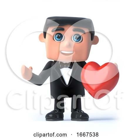 3d Bow Tie Spy Holds a Red Heart by Steve Young