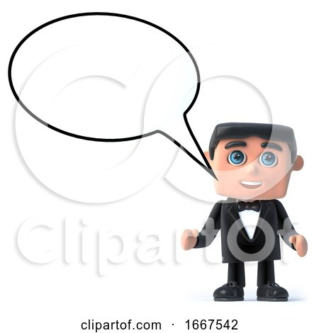 3d Bow Tie Spy with a Speech Bubble by Steve Young