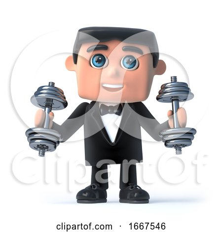 3d Bow Tie Spy Exercising with Weights by Steve Young