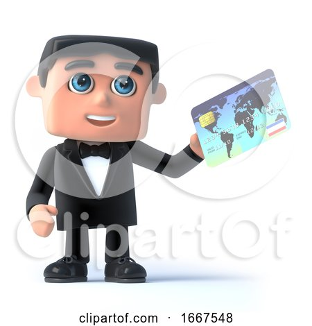 3d Bow Tie Spy Pays with a Debit Card by Steve Young