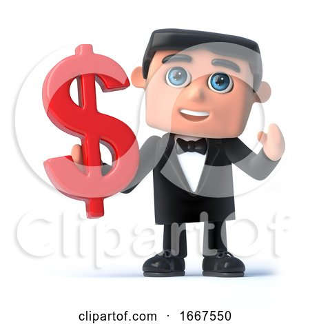 3d Bow Tie Spy Holds a US Dollar Symbol by Steve Young