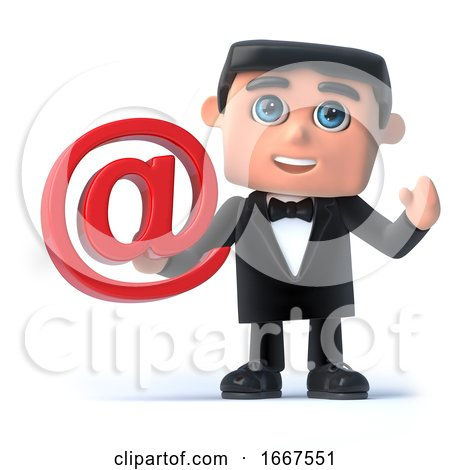 3d Bow Tie Spy Has an Email Address Symbol by Steve Young
