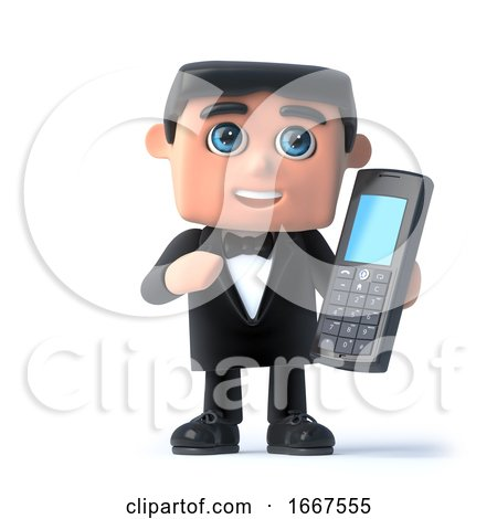 3d Bow Tie Spy Chats on His Mobile Phone by Steve Young
