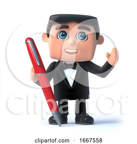 3d Bow Tie Spy Has a Pen by Steve Young