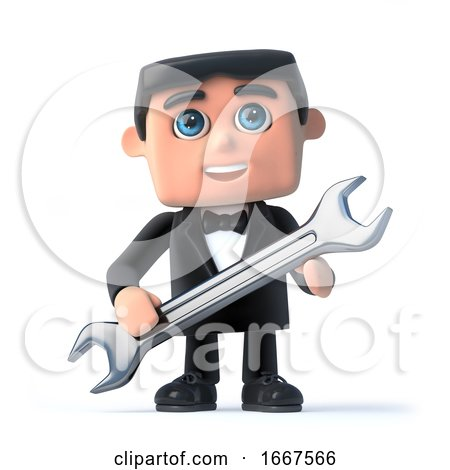 3d Bow Tie Spy Holding a Spanner by Steve Young