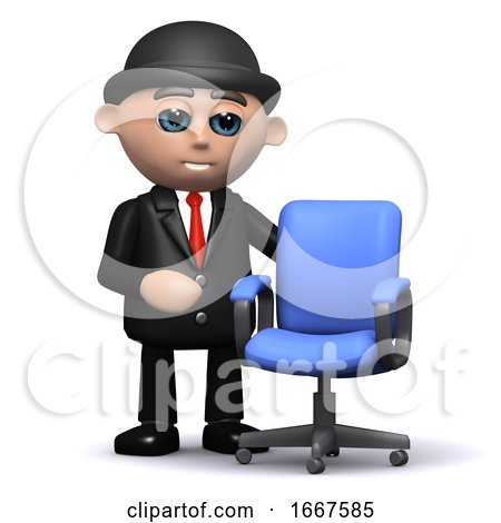 3d Businessman and Empty Office Chair by Steve Young
