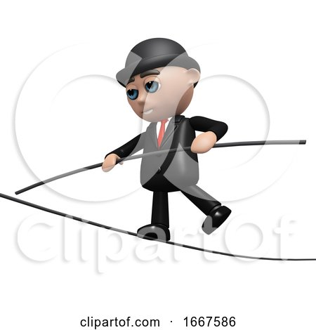 3d Businessman Keeps His Balance by Steve Young