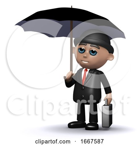 3d Businessman with Umbrella by Steve Young