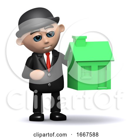 3d Businessman with a Green House by Steve Young