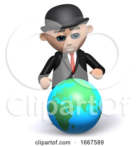 3d Businessman Studies the Globe by Steve Young