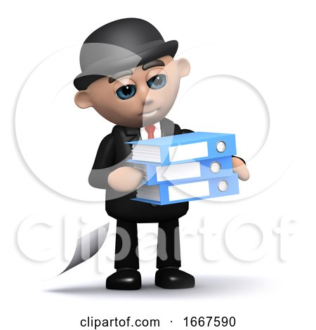 3d Businessman Carrying Folders by Steve Young