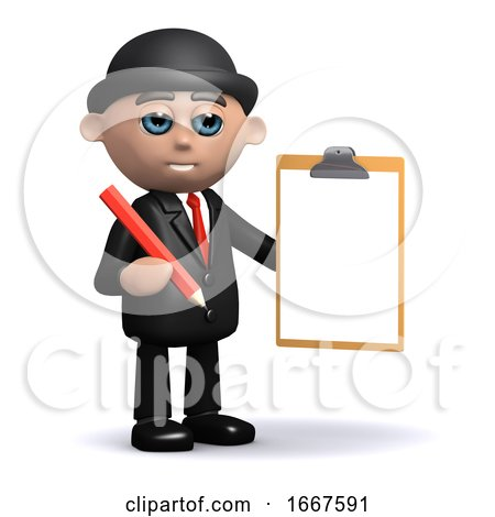 3d Businessman with Clipboard and Pencil by Steve Young