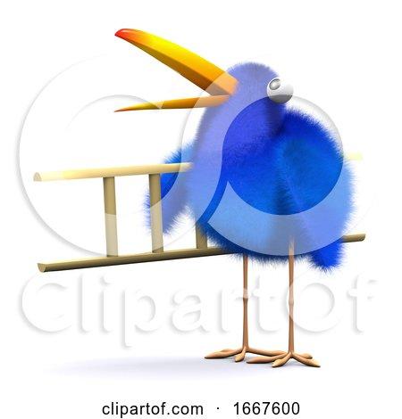 3d Blue Bird Ladder Posters, Art Prints