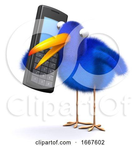 3d Bluebird Chats on a Cellphone Posters, Art Prints