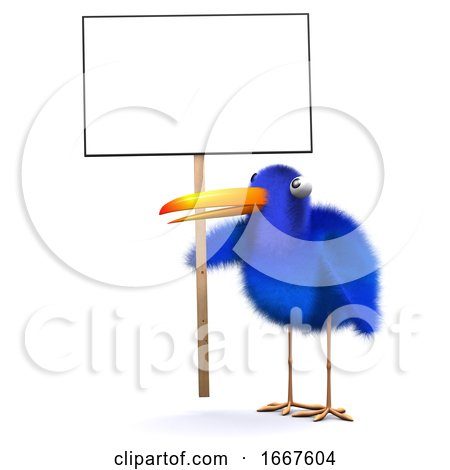 3d Bluebird Protester Posters, Art Prints