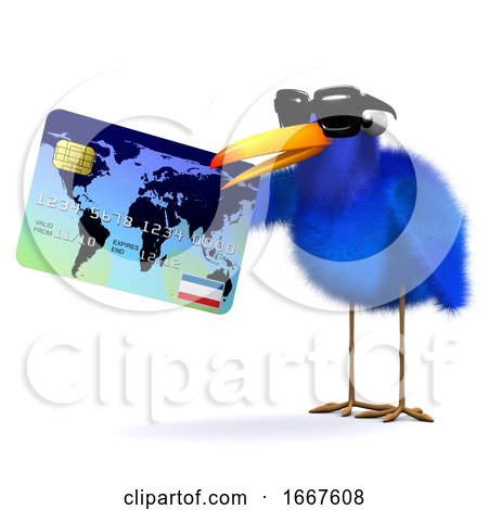 3d Blue Bird Pays with a Credit Card by Steve Young