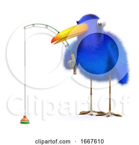 3d Bluebird Goes Fishing Posters, Art Prints