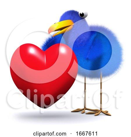 3d Bluebird Hugs a Heart Posters, Art Prints