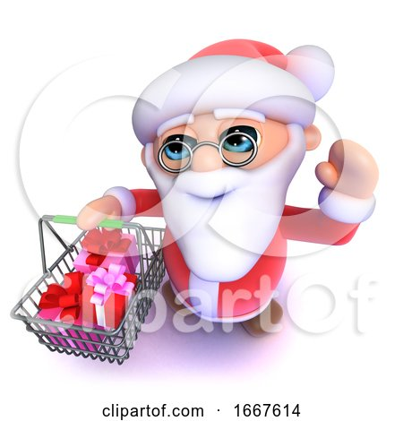 3d Funny Cartoon Santa Claus Going Shopping with His Basket by Steve Young