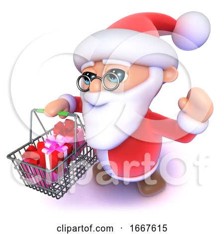 3d Funny Cartoon Father Xmas Carrying a Christmas Shopping Basket by Steve Young