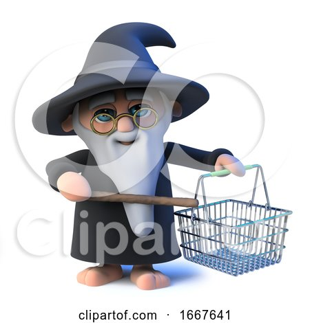 3d Funny Cartoon Wizard Magician Character Waves His Wand at a Shopping Basket by Steve Young