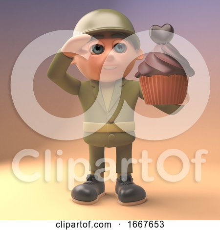 3d Army Soldier in Military Uniform Salutes a Chocolate Cup Cake, 3d Illustration Posters, Art Prints