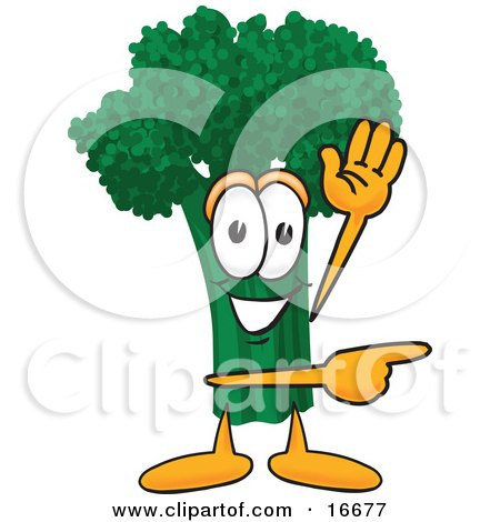 Clipart Picture of a Green Broccoli Food Mascot Cartoon Character Waving and Pointing by Toons4Biz