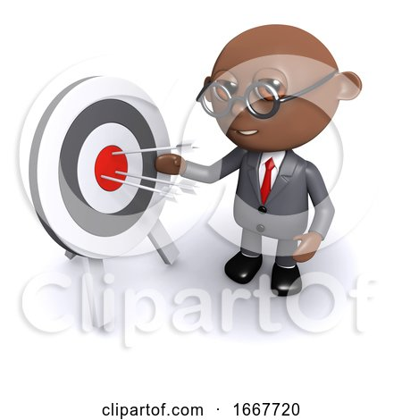 3d African American Businessman Hits His Target by Steve Young