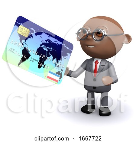 3d African American Businessman Uses a Card by Steve Young