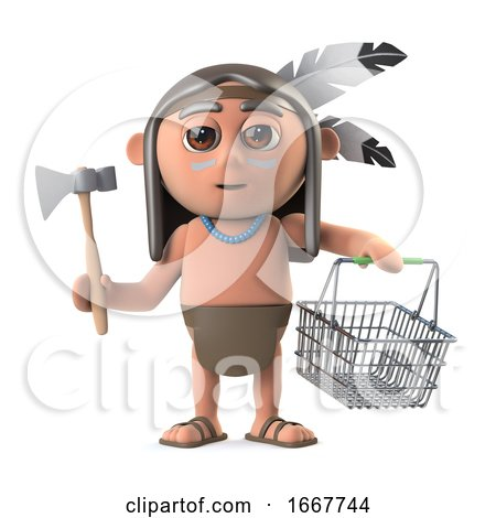 3d Funny Cartoon Native American Indian Boy Goes Shopping with a Basket by Steve Young