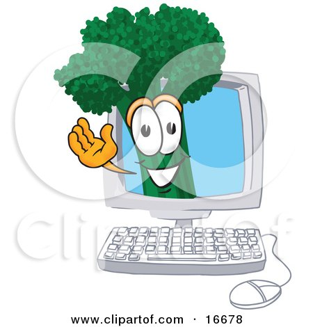 Clipart Picture of a Green Broccoli Food Mascot Cartoon Character Waving From Inside a Computer Screen by Toons4Biz