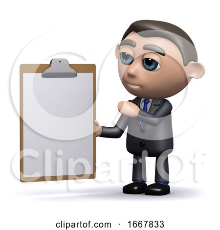 3d Salesman with a Clipboard by Steve Young