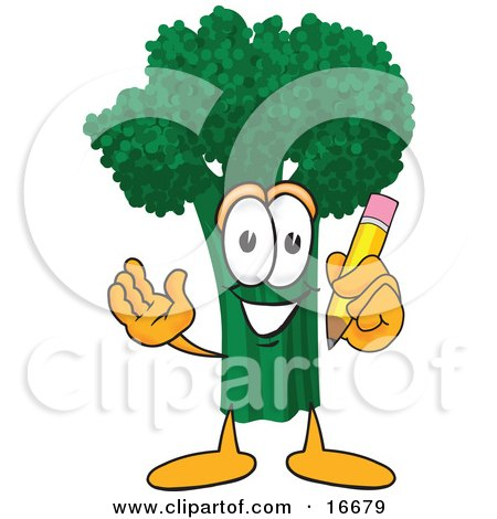 Clipart Picture of a Green Broccoli Food Mascot Cartoon Character Holding a Pencil by Toons4Biz