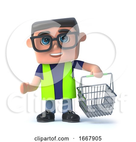 3d Health and Safety Officer Goes Shopping with His Basket by Steve Young