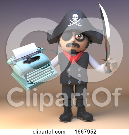 3d Cartoon Pirate Captain Character with Cutlass Holding an Old Typewriter, 3d Illustration Posters, Art Prints