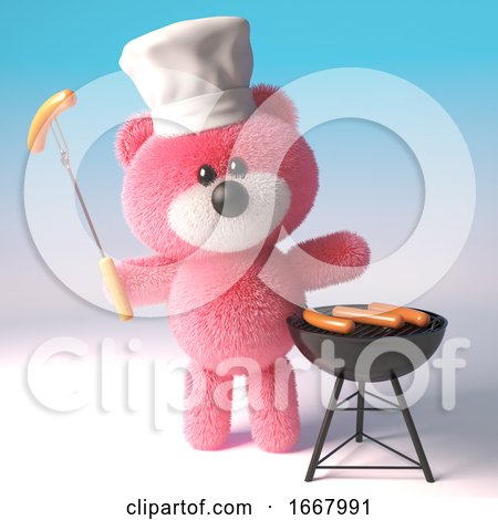 3d Pink Teddy Bear in Chefs Hat Cooking a Barbecue Bbq, 3d Illustration by Steve Young