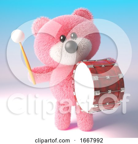 3d Teddy Bear with Pink Fuffy Fur Banging on a Bass Drum, 3d Illustration by Steve Young