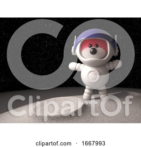 3d Teddy Bear with Pink Fur Exploring the Moon in a Spacesuit, 3d Illustration by Steve Young