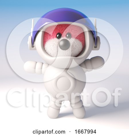 3d Pink Fluffy Teddy Bear Cartoon Character Wearing a Spacesuit, 3d Illustration by Steve Young