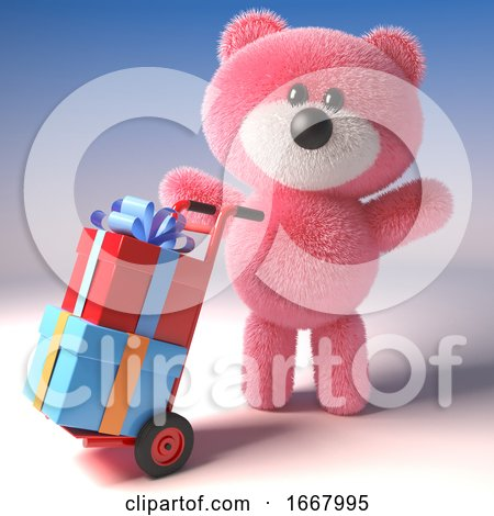 Pink 3d Teddy Bear Character Delivering Gift Wrapped Presents on a Hand Cart Trolley, 3d Illustration by Steve Young