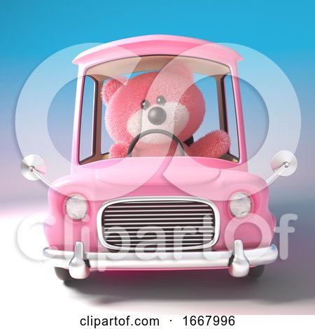 3d Pink Teddy Bear Character Driving a Pink Cartoon Car, 3d Illustration by Steve Young