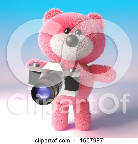 3d Cute Pink Teddy Bear Character Taking a Photo with an Old Camera, 3d Illustration by Steve Young
